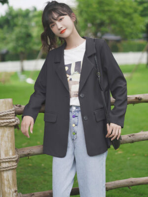 Black Two Buttons Suit Jacket (6)