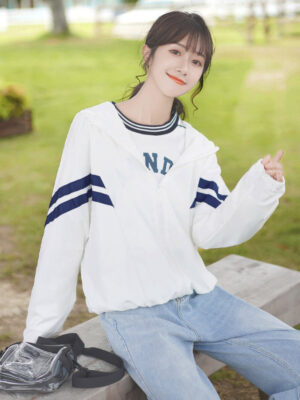 Double Blue Striped Hooded Jacket (4)