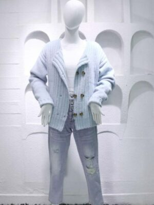 Jennie Baby Blue Double Breasted Knit Cardigan (1)