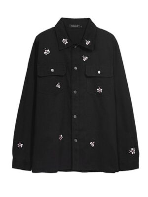 Jungwoo – NCT Black Jacket With Bee Embroidered Design (4)