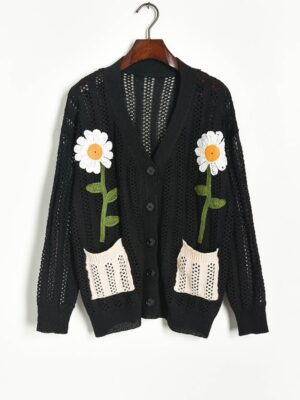 Momo – Twice Black Knitted Cardigan With Daisy Embroidery (20)