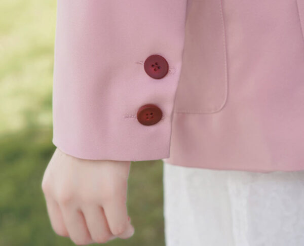 Red Buttoned Pink Suit Jacket