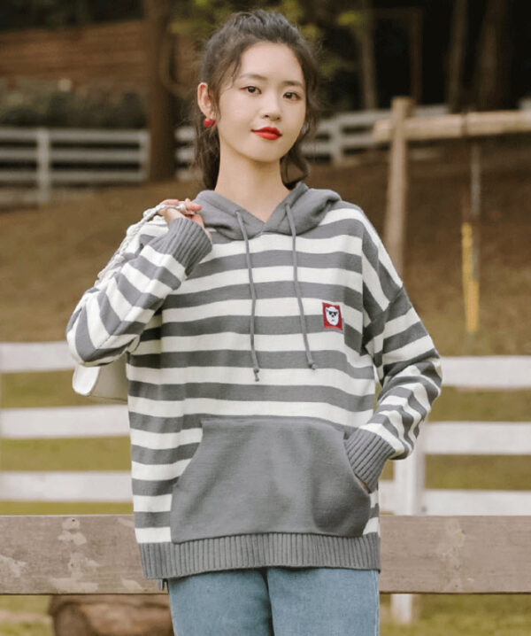Black And White Striped Hoodie With Bear Patch