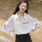 Black Outlined And Black Buttoned Shirt