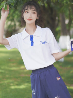 Blue Embroidery Designed Polo T-Shirt (2)