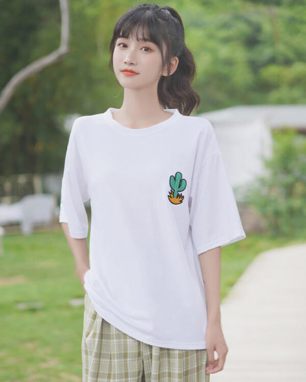 Cactus Patch On White T-Shirt
