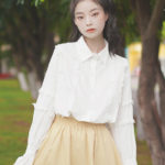 Crocheted Hollow Laced White Shirt