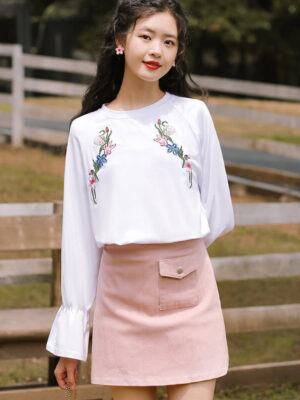 Embroidered Flowers White Blouse (3)