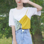 Faux Two-Piece Cute Cami On T-shirt