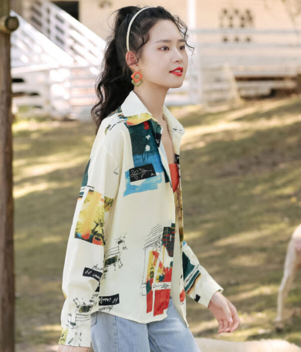 Floral And Scenic Print Shirt