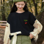 Floral Laced Sleeves Black Sweater