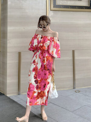 Floral Puffed Sleeve Off-Shoulder Dress Ko Moon‑Young (2)