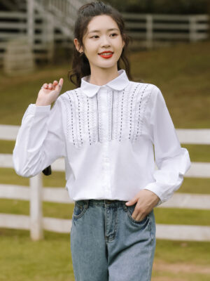 Half Top Embroidery White Shirt