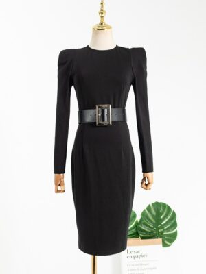 Ko Moon‑Young – It's Okay Not To Be Okay Black Belted Bodycon Dress (9)