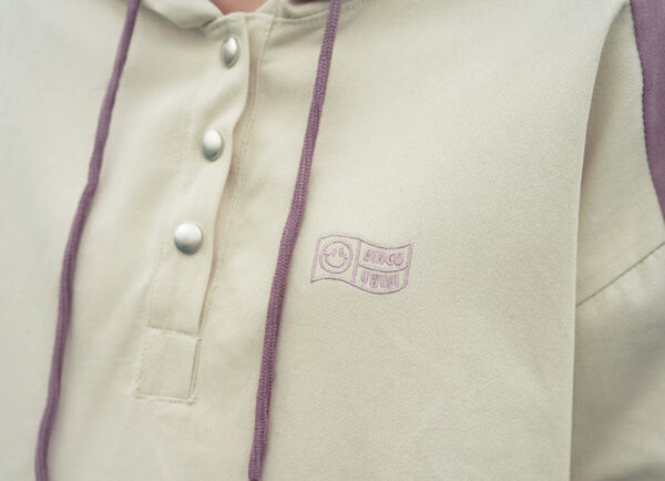 Lilac Outline Designed Apricot Hoodie