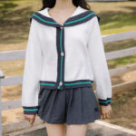 Navy Collar Blue Outlined Cardigan