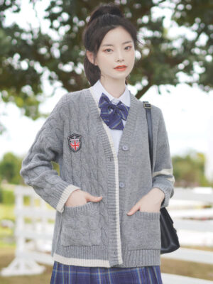 One Twisted Knot Side Knit Grey Sweater (2)