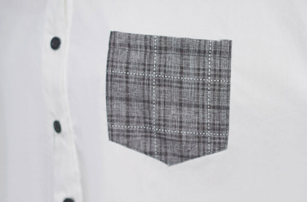 Plaid Pocket And Lace Stitched Shirt