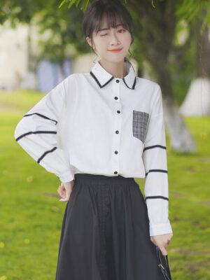 Plaid Pocket And Lace Stitched Shirt (10)
