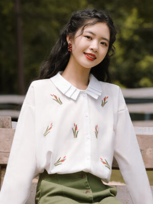 Pleated Collared Floral White Shirt