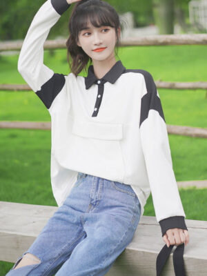 Polo Collared Black And White Pocketed Sweater (5)