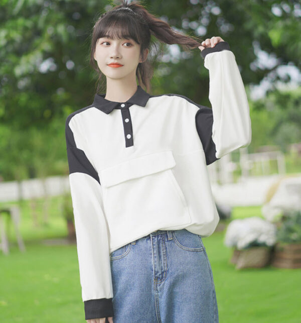 Polo Collared Black And White Pocketed Sweater