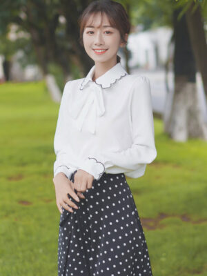 Ruffled Outlined Collar And Cuffs Shirt With Bow (6)
