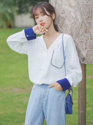 Simple White Shirt With Blue Cuffs (15)