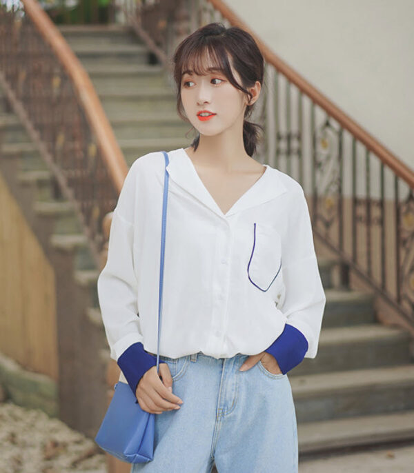 Simple White Shirt With Blue Cuffs