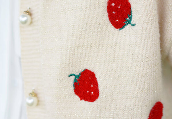 Strawberries Patterned Apricot Cardigan