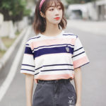 Striped Drink Cup Embroidered T-Shirt