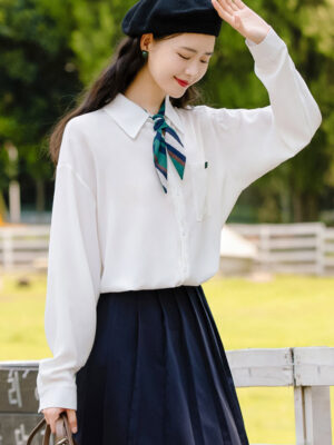 White Shirt With Cute Striped Scarf (5)