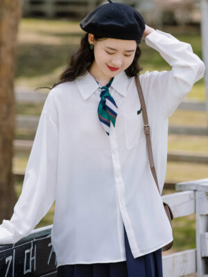 White Shirt With Cute Striped Scarf
