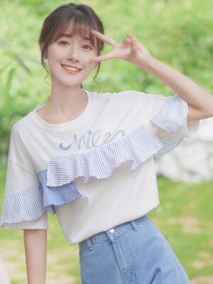 White T-Shirt With Blue Striped Ruffles (1)