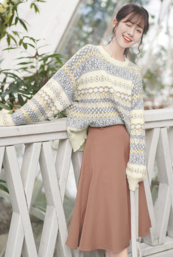 Wintery And Fluffy Patterned Sweater