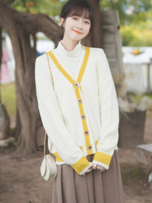Yellow Outlined White Cardigan (6)
