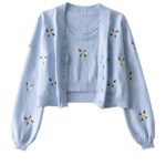 Blue Knitted Top And Cardigan Set | Jennie – BlackPink
