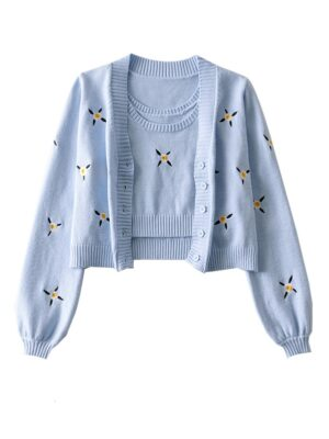 Jennie – BlackPink Blue Knitted Top And Cardigan Set (15)
