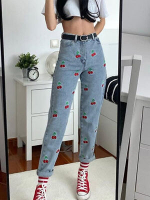 Lia Cherries Embroidered Pattern Pants (1)