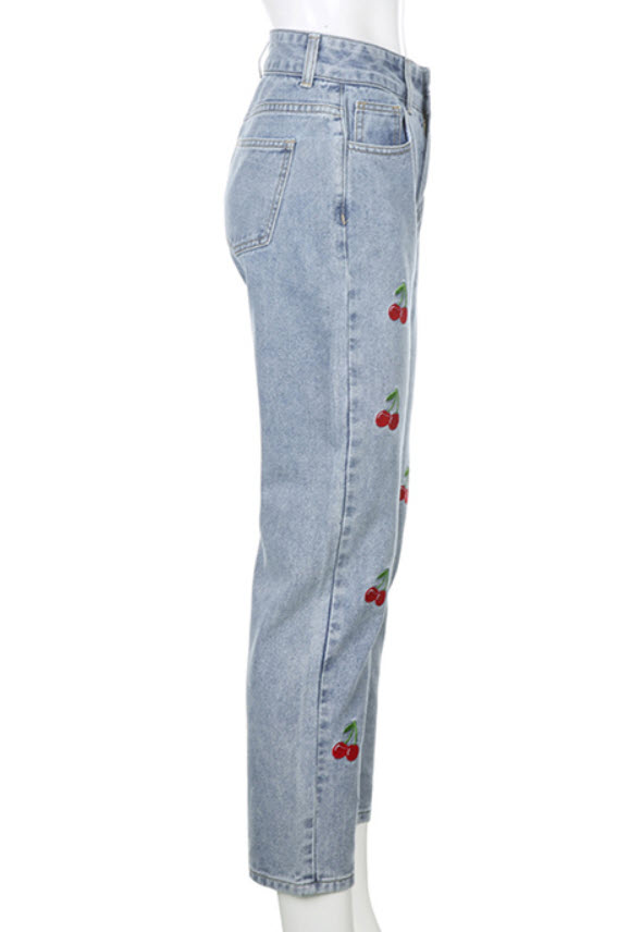 Cherries Embroidered Pattern Pants | Lia- ITZY