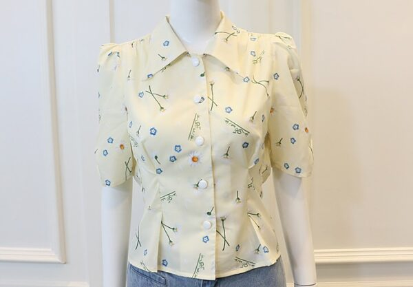 Yellow Puffed Sleeve Floral Blouse | Lisa – BlackPink