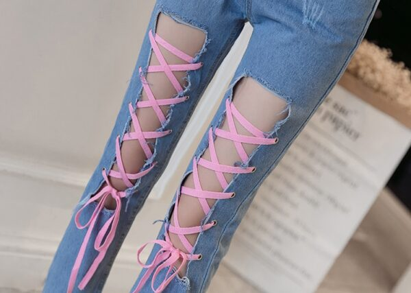Front Lace-Up Jeans   Chung Ha
