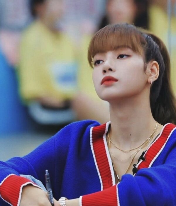 Blue And Red Off Cardigan | Lisa – BlackPink