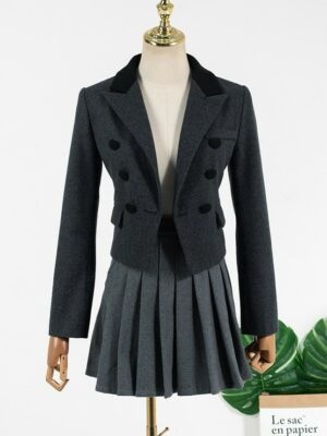 Lisa Grey Tri-buttoned Jacket & Grey Pleated Shool Style Skirt (1)