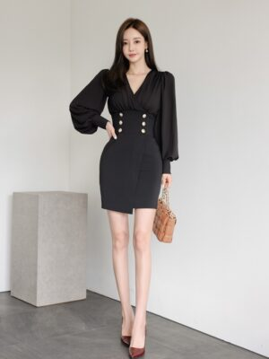 Ryujin – ITZY Black Wrap Front Dress With Gold Buttons (6)
