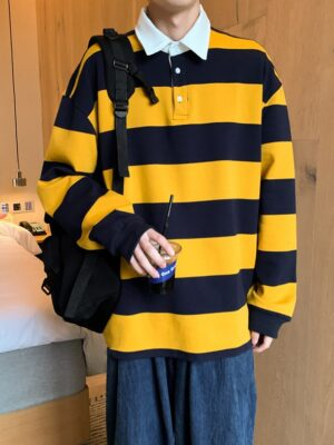 Doyoung – NCT Yellow And Blue Stripe Patterned Polo Shirt (18)