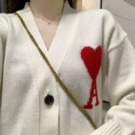 White Knitted Ace of Hearts Cardigan | Hyunjin – Stray Kids