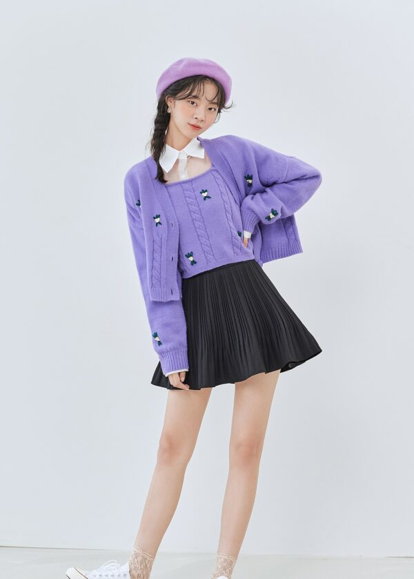 Lilac Embroidered Knit Cardigan | IU