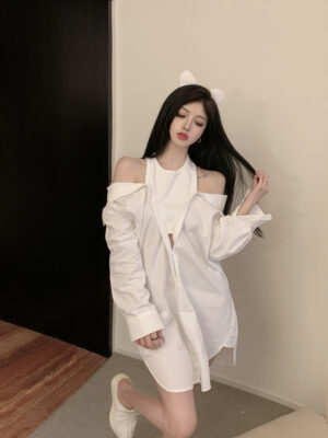 Chaeyoung – Twice White Layered Off-Shoulder Shirt Dress (9)