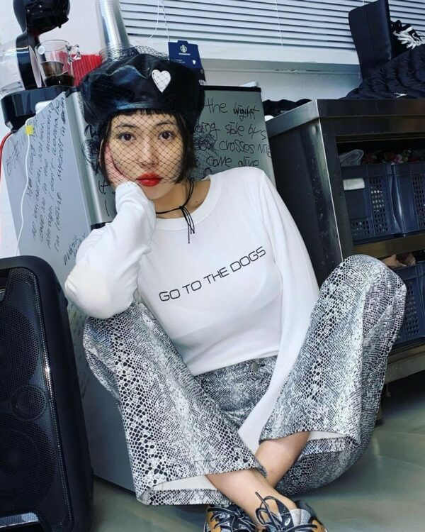 Go To The Dogs Long Sleeve Crop Top   Hyuna